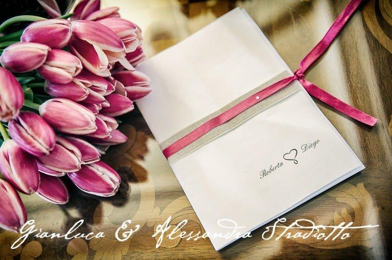 Matrimonio Bianco e Fucsia - Libretto cerimonia Antonella Amato Wedding Planner