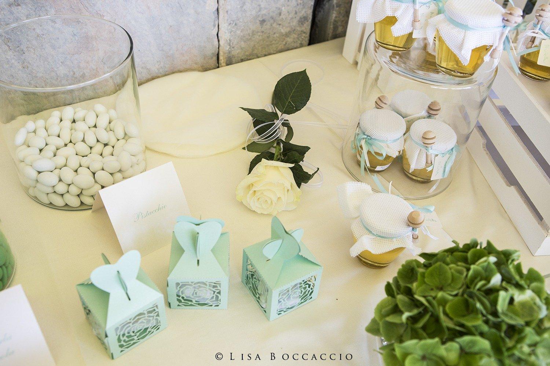 Matrimonio Bianco e Verde_tavolo confettata